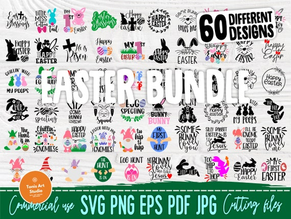 Easter SVG Bundle, 60 Funny Quotes Svg, Png