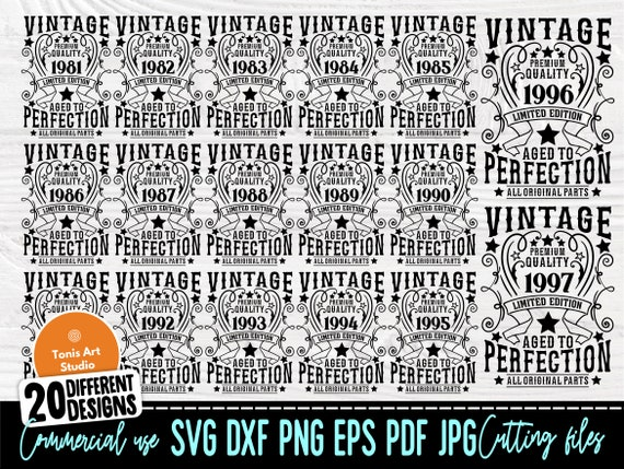 Birthday Bundle SVG, Vintage Svg, 1981-2000 Svg