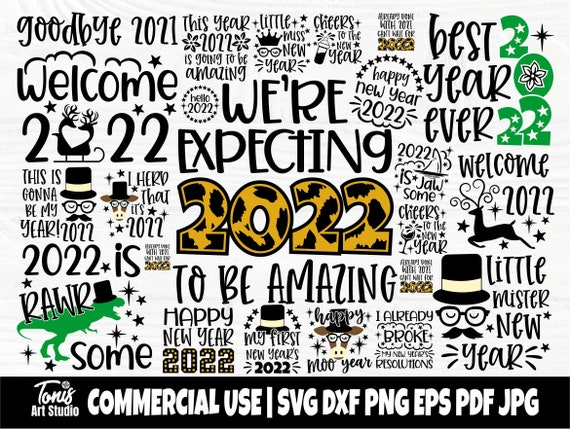 Happy New Year SVG Bundle, Hello 2022 Svg Cut File