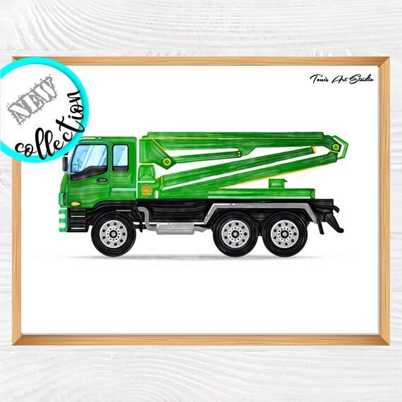Concrete mixer truck | Truck wall decor | kid room art | Truck printable art | Toddler boys | Boy room decor | Truck wall art | Vehicle art