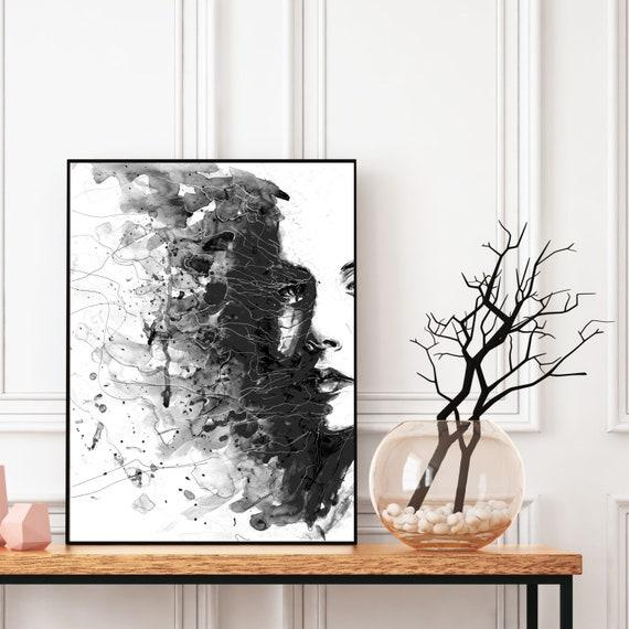 Woman Portrait Print, Abstract Wall Art, Black and White, Living Room Art, Bedroom Wall Decor, Girl Portrait, Decorative Art, Abstract Print