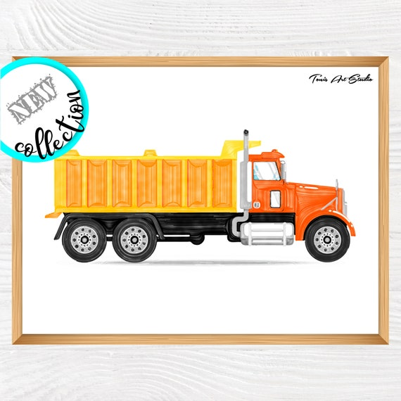 Truck wall decor   Digger truck print   Boys Prints   Children Art Decor   Dump truck Wall Art   Construction wall art   Printable Art