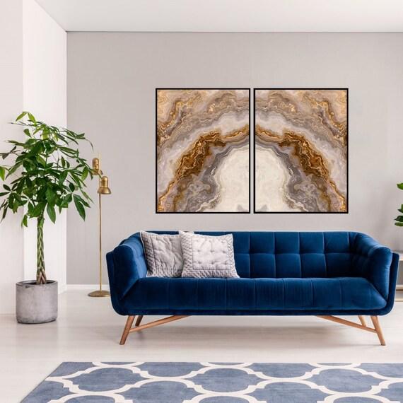 Agate Wall Art Set of 2 Prints, Grey and Brown Marble Decor, Digital Download, Modern Art, Granite Wall Art, Geode Poster, Marble Prints.