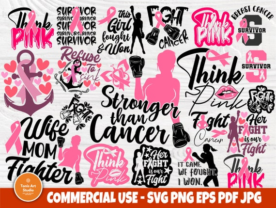 Breast Cancer Quotes SVG Bundle Survivor Fight PNG