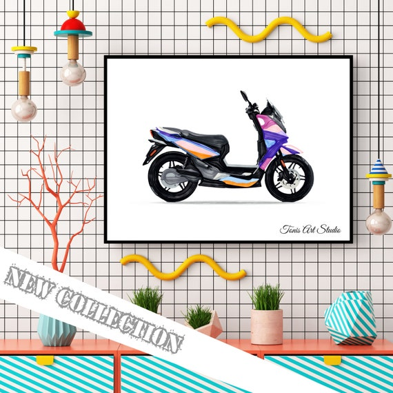Scooter Watercolor, Transportation Art, Scooter Wall Art, Nursery Decor, Scooter Print, Scooter Printable, Vehicles Art, Toddler Wall Art