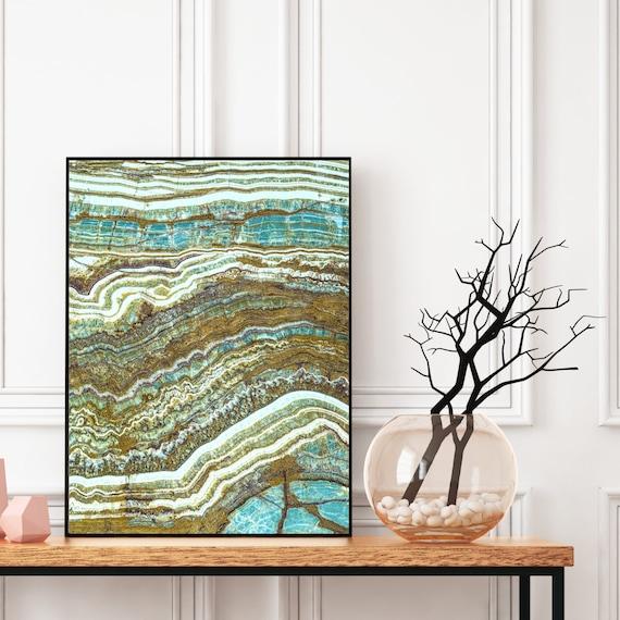 Agate Wall Art Print, Digital Download, Natural Stone Decor, Elegant Modern Art, Blue Abstract Wall Art, Geode Poster, Natural Stone Print.
