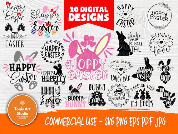 Happy Easter SVG Cut Files | Easter Svg Bundle | 20 Shirt Designs | Bunny Love | Cricut, Silhouette Svg Files | Hoppy Easter Svg | Eggs Svg