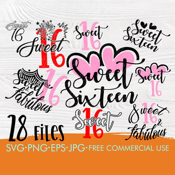 Sweet 16 SVG | Sweet 16 bundle | Sixteen birthday svg | 16th birthday svg | Svg cut files for cricut and silhouette | 16 birthday designs