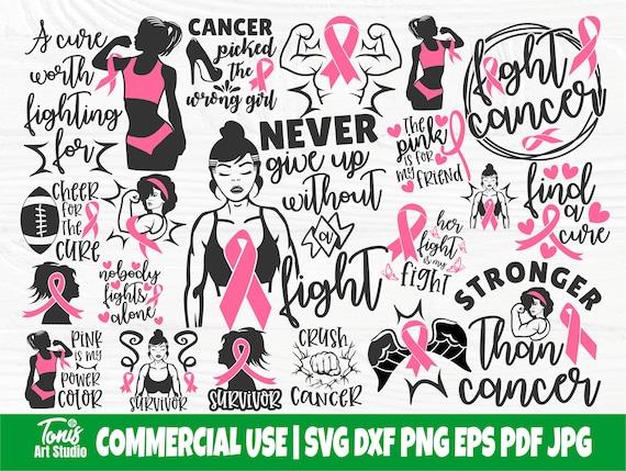 Breast Cancer SVG Bundle, Strong Woman Svg, Fight Cancer Svg, Pink Ribbon, Cancer Png, Awareness Svg, Cancer Survivor, Cancer Shirt Svg, Dxf