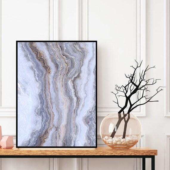 Agate Wall Art Print, Grey Marble Decor Printable, Digital Download, Elegant Modern Art, Granite Wall Art, Geode Poster, Marble Print.