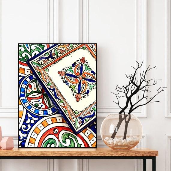 Moroccan decor Printable, Moroccan Plates Print, Boho Wall Art Decor, Digital Download, Colourful Large wall art, Travel photography.