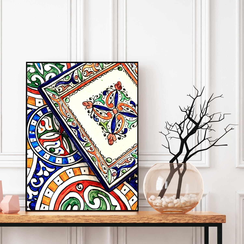 Moroccan Decor Printable Moroccan Plates Print Boho Wall Art Decor Digital Download Colourful Large Wall Art Travel Photography
