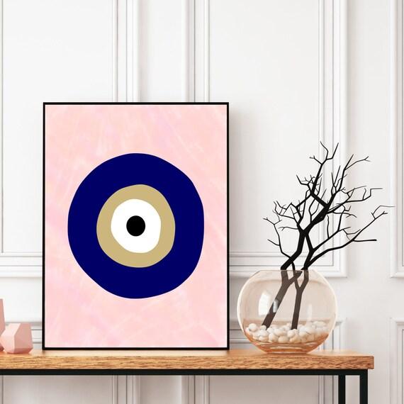 Evil Eye Print, Boho Wall Art, Digital Download, Meditation Decor, Greek Evil Eye, Ethnic Protection Symbol, Lucky Charm Pattern, Printable