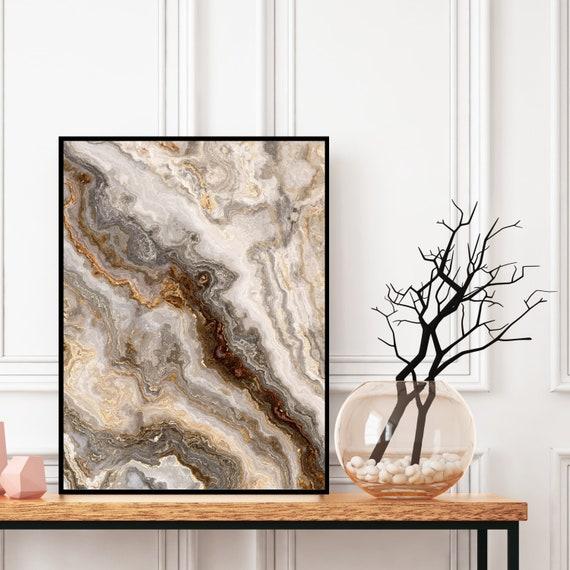 Agate Wall Art Print, Grey and Brown Marble Decor Print, Digital Download, Elegant Modern Art, Granite Wall Art, Geode Poster, Marble Print.
