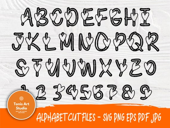 Valentine font SVG | Heart Alphabet Cut file | Love Svg | Heart Svg | Heart Letters and Numbers | Svg Files for Cricut | Heart Monogram Svg