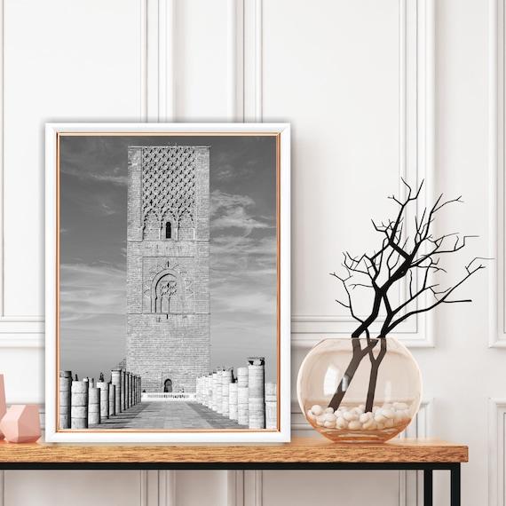 Moroccan decor Black and White Printable, Boho art print, Architecture print, Bohemian decor, Large wall art, Travel photography.