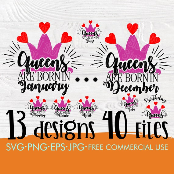 Birthday queen SVG | Birthday girl svg bundle | 12 months birthday queen | Birthday cut files for cricut and silhouette | Queens are born in