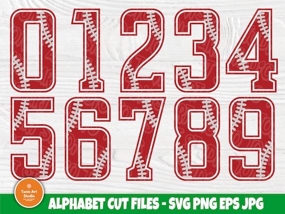Baseball Numbers SVG Cut Files, Softball Svg Files