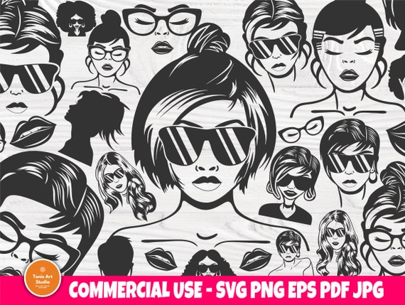 Woman SVG Bundle, Lips Svg, Hair Svg, Black Women