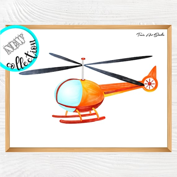 Nursery wall art | Helicopter decor | Nursery decor | Boys room | Kids bedroom art | Helicopter printable | Transportation, watercolor art