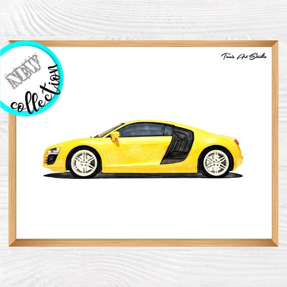 Sport Car Print, Print for boy, Car Wall Art, Sports Car Decor, Car Printable, Boys Room Wall Art, Toddler Room Decor, Watercolor Nursery