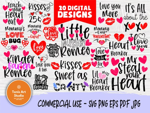 Valentine SVG Bundle | Funny Valentines Quotes Svg | Valentines Signs | Svg Files for Cricut | Valentines Cut Files | Hearts Silhouette