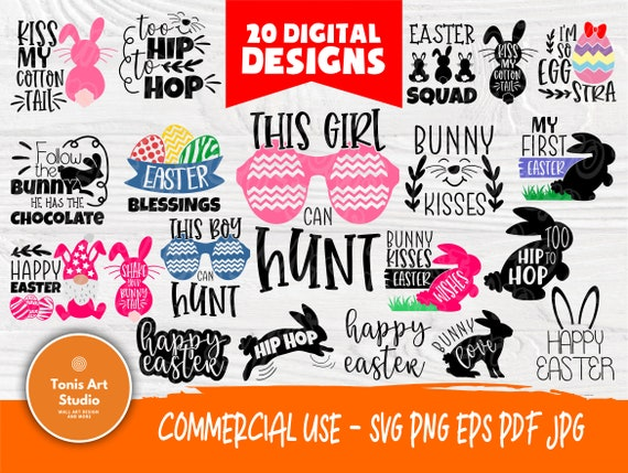 Easter Signs SVG | Svg Bundle | Happy Easter | My First Easter | Kiss my Cotton Tail | Bunny Love | Girl and Boy Hunt Svg | Easter Holiday