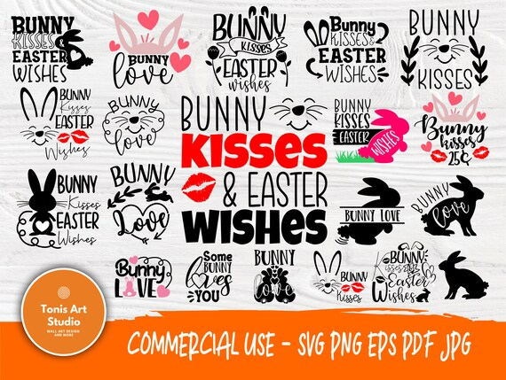 Bunny Kisses Easter Wishes SVG, Bunny Love Svg Png Eps Pdf Jpg Cut Files, Bunny Svg, Easter Quotes, Svg Files for Cricut, Silhouette Files