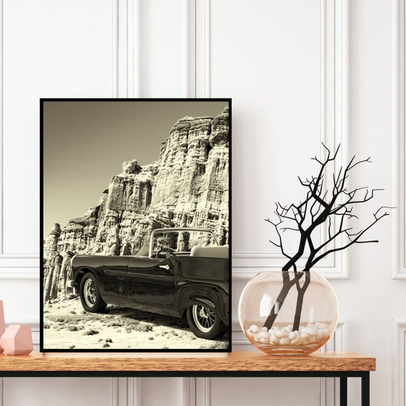 Retro Car Print Black and White, Digital Download, Vintage Wall Art, Retro Decor, Boho Wall Art, Desert Printable,Travel Photography Poster.