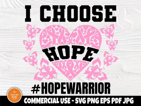 I Choose Hope SVG, Breast Cancer Shirt, Ribbon Svg