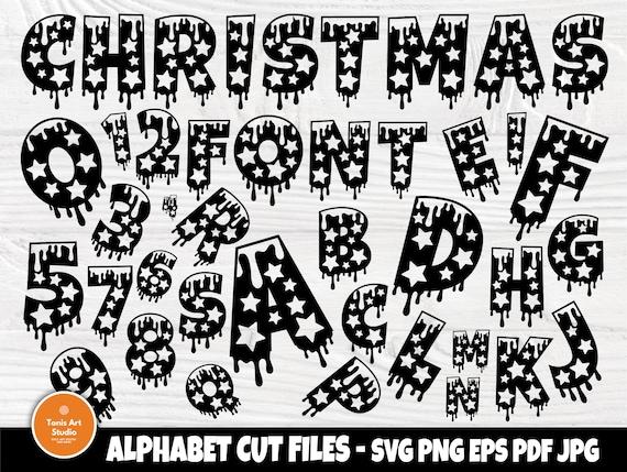 Christmas Font SVG Cut Files, Dripping Svg, Winter