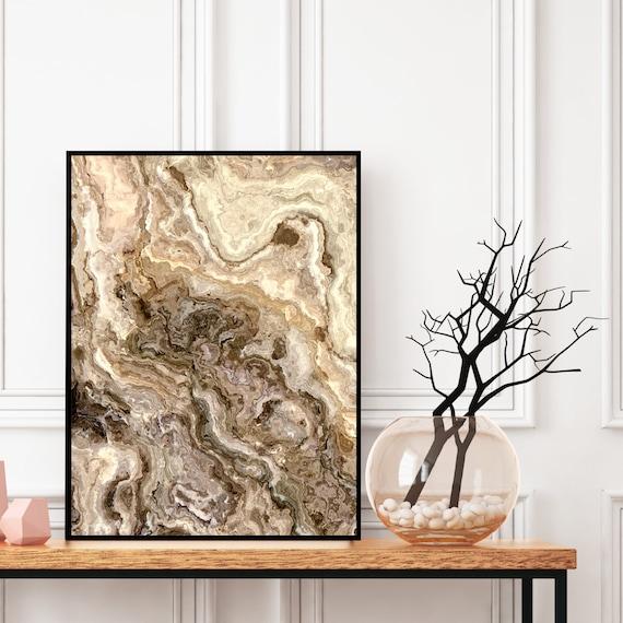 Agate Wall Art Print, Grey and Brown Marble Decor Print, Digital Download, Elegant Modern Art, Onyx Wall Art, Geode Poster, Marble Print.