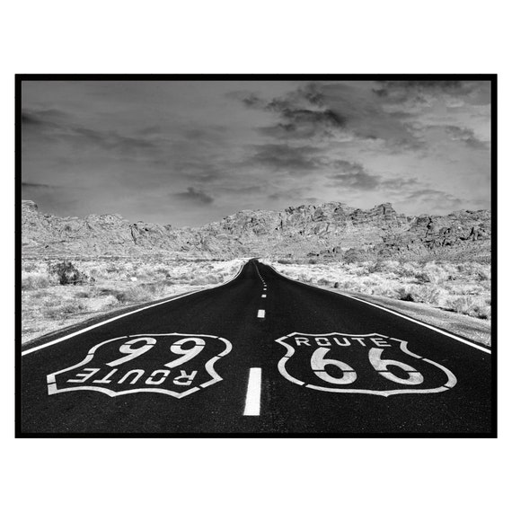 Retro Route 66 Highway Print, Black and White, Digital Download, Vintage Wall Art, Retro Decor, Boho Wall Art, Travel Photography Poster.