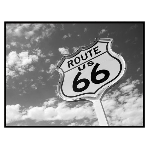 Retro Route 66 Highway Sign Print, Black and White, Digital Download, Vintage Wall Art, Boho Wall Art Retro Decor,Travel Photography Poster.