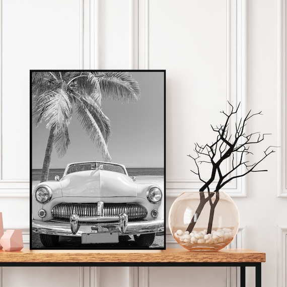 Vintage Car on the Beach Print Black and White, Digital Download, Coastal Tropical Wall Art, Retro Decor, Photography Poster, Boho Wall Art.