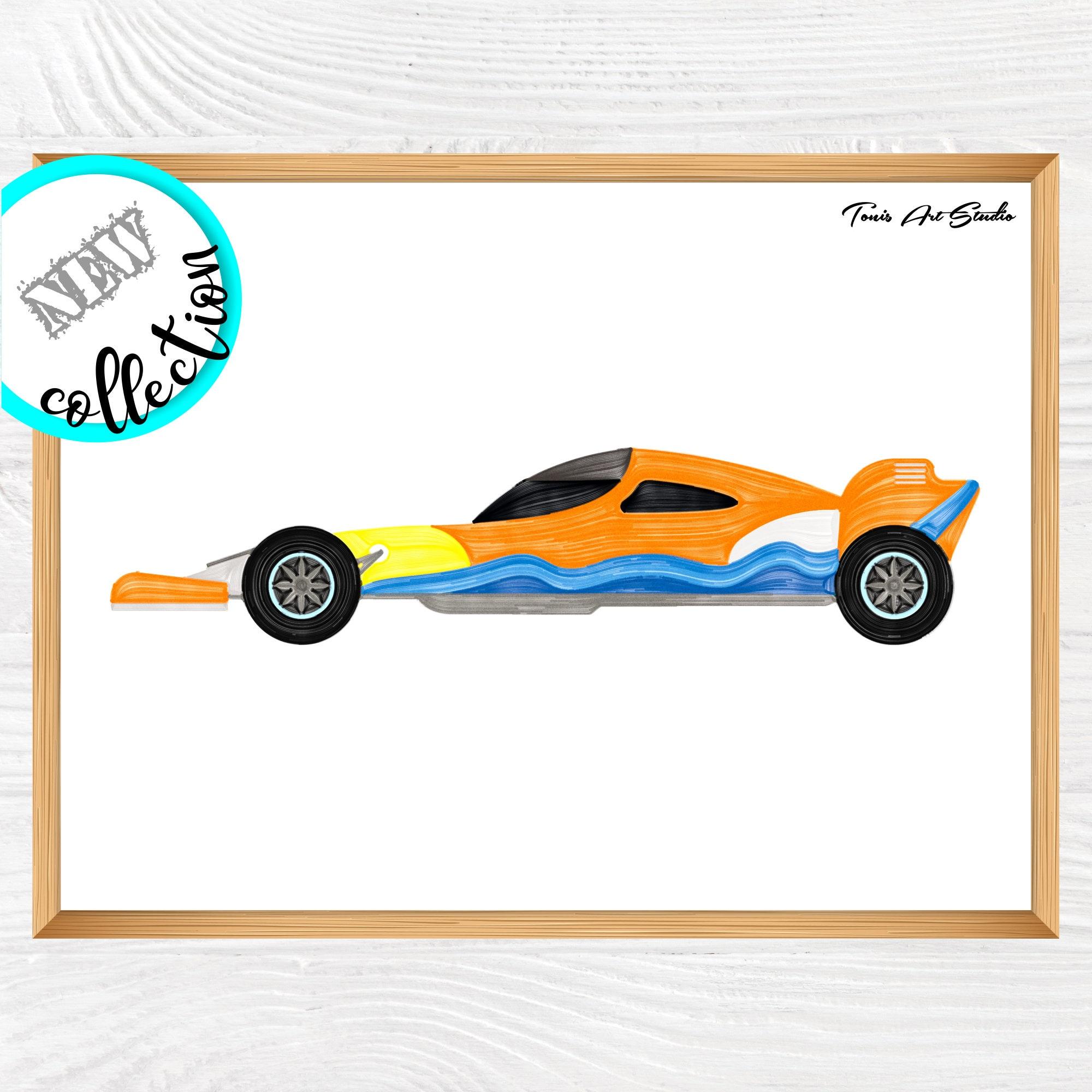 Race Car Printable Nursery Wall Art Car Watercolor Nursery Decor Transportation Art Nursery Vehicle Boy Print Classroom Decor