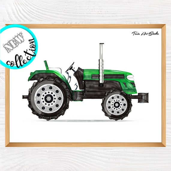 Green tractor | Tractor wall art | Wall art print | Tractor printable art | Transport vehicles | Kid room decor | Tractor print | Watercolor