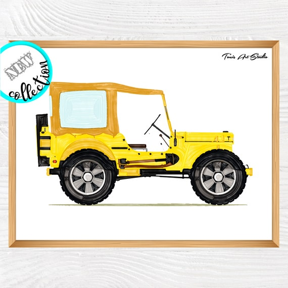 Jeep wall decor | Nursery print | Jeep wall art | Jeep decoration | Boys room art | Jeep birthday party | Watercolor art | Transportation