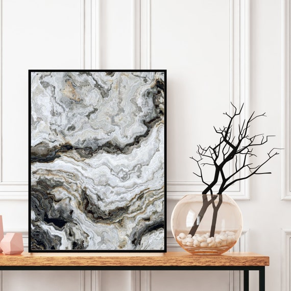 Agate Wall Art Print, Grey and Black Marble Decor, Digital Download, Elegant Modern Art, Granite Wall Art, Geode Poster, Marble Print.