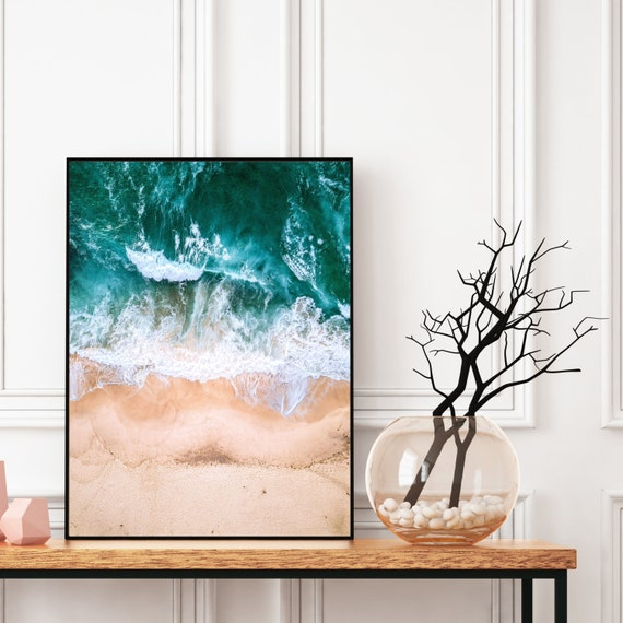 Beach Photography Print, Digital Download, Aerial Beach Photo Print, Large Printable Ocean, Beach Wall Art, Coastal Decor, Beach and Sand.
