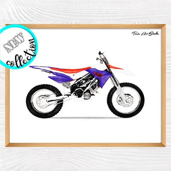 Dirt bike wall art | Transportation art | Motorbike wall art | Boy room art | Motorbike watercolor | Printable art | Vehicles art print
