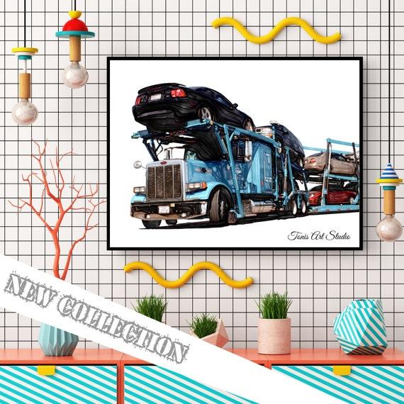 Car Carrier Print, Transportation Wall Art, Truck Print, Boy Bedroom Art, Toddler Art, Car Bedroom Decor, Car Printable, Semi Truck Party
