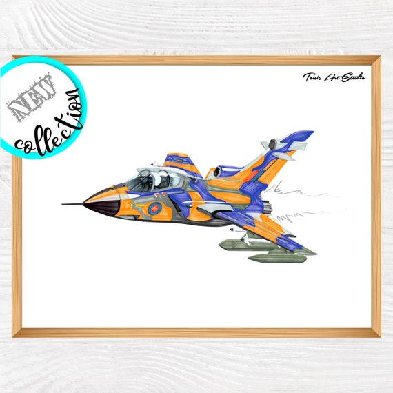 Fighter airplane wall decor | Airplane watercolor | Plane printable | Airplane wall art | Boy room wall art | Transportation | Print for boy