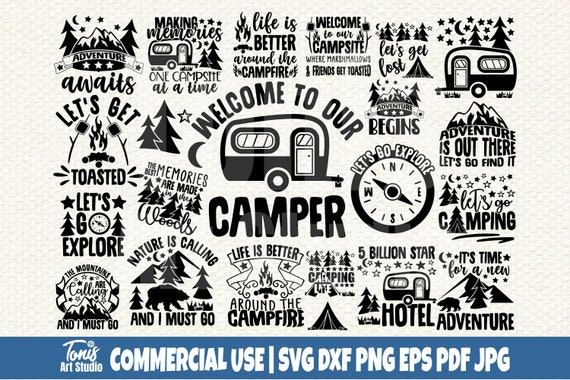 Camping SVG Bundle, Svg Cut Files, Commercial Use
