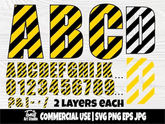 Construction font SVG | Under construction svg | Construction alphabet | Construction letters svg | Construction numbers | Kids Birthday svg