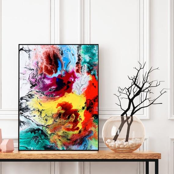 Abstract Wall Art Decor, Digital Download, Multicolour Canvas Abstract Print, Modern Art, Minimalist Decor, Colourful Wall Art Printable.