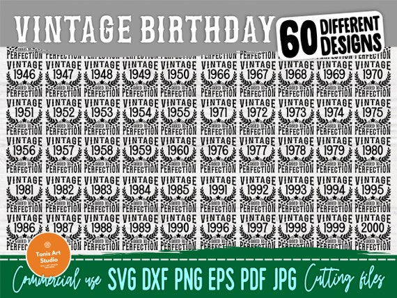 Vintage Birthday SVG, Aged to Perfection Svg, Png