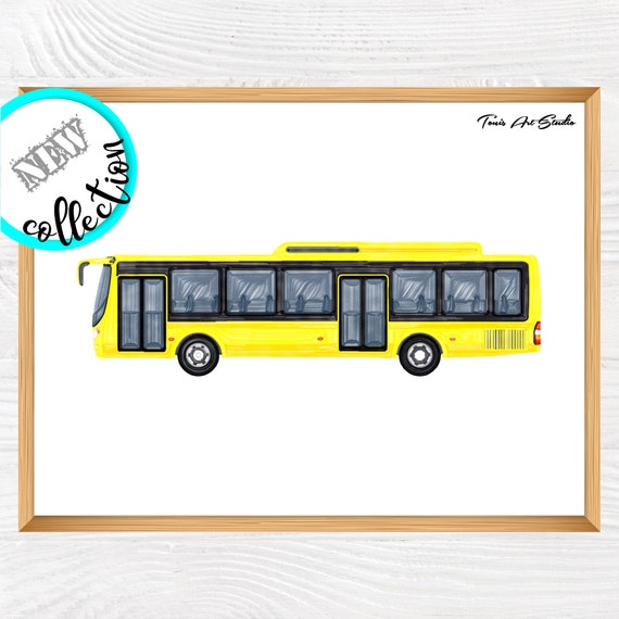 Yellow bus watercolor   Bus wall decor   Transport art   Printable art   Bus wall art   Transportation   Kid bedroom art   Classroom decor