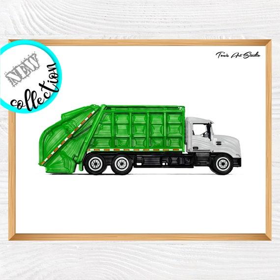 Garbage truck wall art, Green vehicles art, Transportation decor, Truck watercolor, Truck printable, Truck birthday party, Digital art