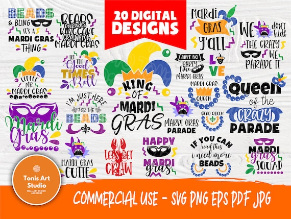 Mardi Gras SVG Bundle | Parade Party Svg | Mardi Gras Signs | Mardi Gras Cut Files for Crafters | Mask Queen Svg | Cricut Cut Files
